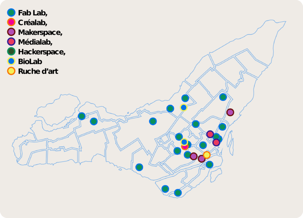 Map of Fab Labs in the Montreal region